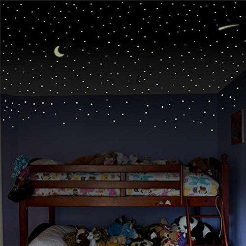 Zegeey DIY Sterne Und Mond Leuchtsticker Wandtattoo Dekor FüR Deko Kinderzimmer Babyzimmer Wanddekoration Abnehmbare Wandsticker Geburtstag Party Dekoration(D-Grün)