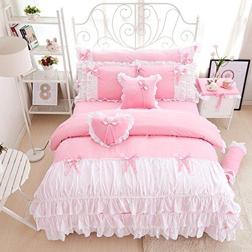 hxxkact Bettwäsche Set,Bettvolant Bettbezug Bettüberwurf Tagesdecke Europäischer Stil Dekoration Princess Baumwolle-Rosa 180x200cm(71x79inch)