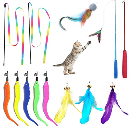 Scettar Cat Fishing Pole Toy,14 Pcs Cat Toys Interactive with 2 Pole 10 Replacement 2 Cat Robbin Worm DA Bird Toy Ball Wand Toy for Indoor Cat …