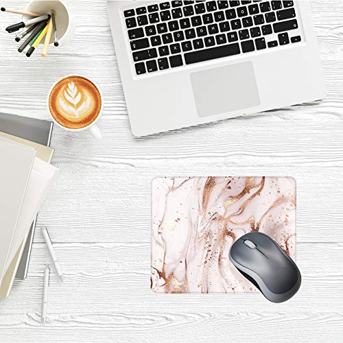Boutilon Square Mouse Pad Non-Slip Rubber Gaming Mouse Pad with Stitched Edge in Lycra Cloth Surface 260x 210mm Mouse Mat for Computer, Laptop, Home, Office (Champagne Marble Square) Photo #2