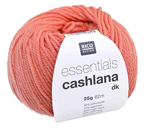 Rico Essentials Cashlana dk, Fb. 016 – Koralle, weiche Wolle mit Merinowolle und Kaschmir, 25g Knäuel, Nadelstärke 3,5 – 4mm