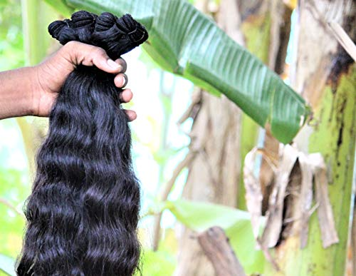 """Indian Human Hair Unprocessed Virgin Indian Remy Hair 18""""20""""22"""" Wavy 3 Bundles 100% Indian raw hair direct from India hair factory fast shipping by DHL Express. Single donor raw hair."""