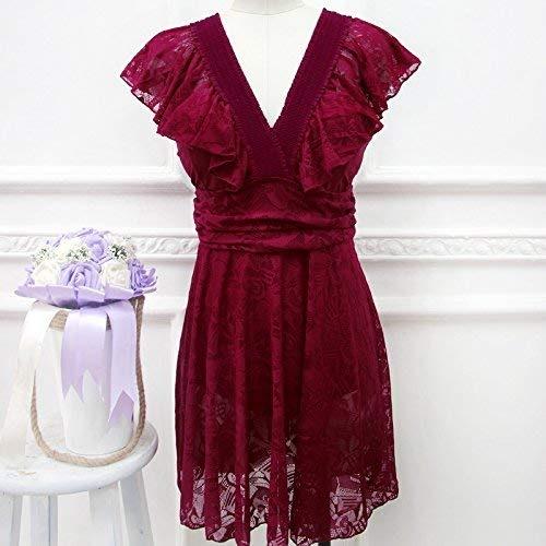 Qiusa Maillot de Bain Une pièce Style Jupe Maillot de Bain à la Mode Sau Lei Flat Corner Girl, Vin Rouge, 5XL (Couleuré   comme montré, Taille   Taille Unique)