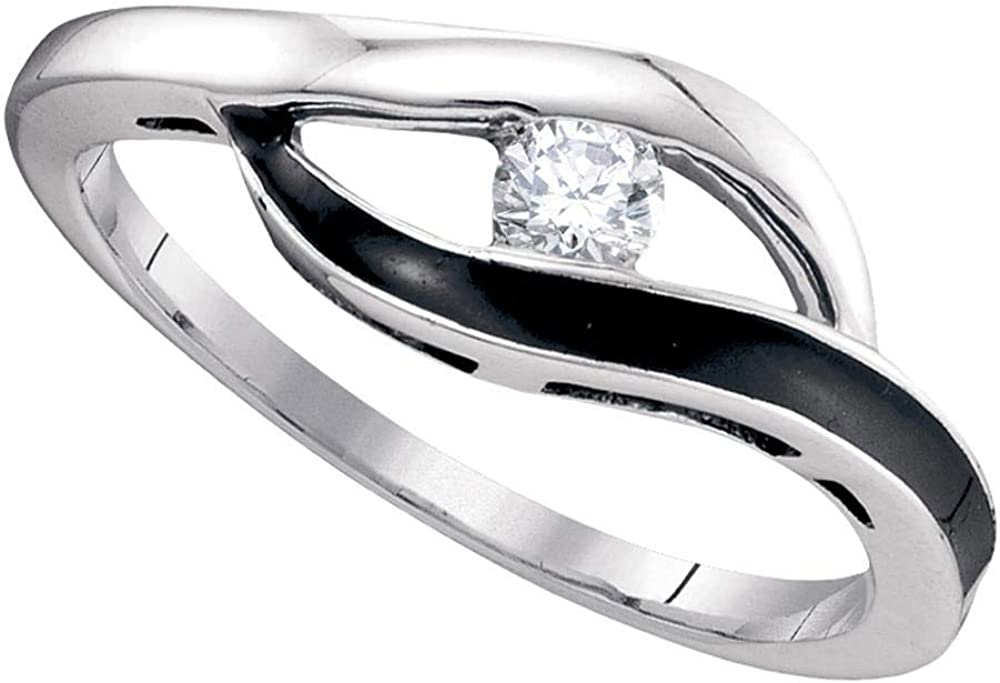 Dazzlingrock Collection 10kt White Gold Womens Round Diamond Solitaire Black-tone Promise Bridal Ring 1/8 ctw