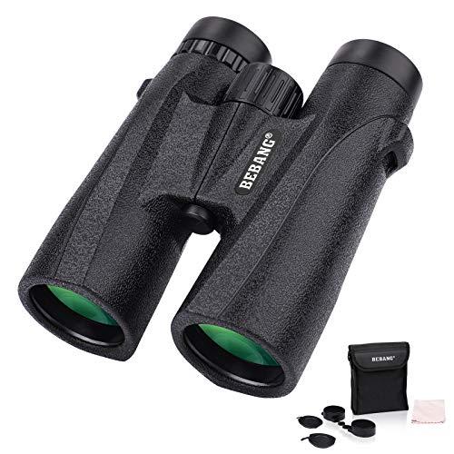 BEBANG 12 x 42 potentes prismáticos con lentes de vidrio óptico HD de 42 mm lente de objetivo grande, prismáticos ligeros para senderismo, viajes, aves, caza, conciertos