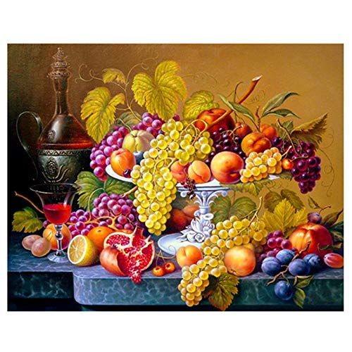 5D Diamond Painting Kit for Adults, Full Round Drill DIY Diamond Painting by Numbers Diamond Kit for Home Wall Decor Fruit On The Table 19.7x15.7 in by Megei