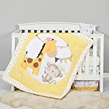 TILLYOU 4-Piece Giraffe Theme Crib Bedding Set for Girls, Luxury Nursery Bedding Essential Including 1 Padded Comforter, 1 Crib Skirt and 2 Silky Soft Microfiber Crib Sheets, Standard Size, Yellow