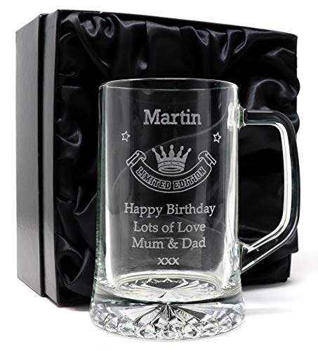 Engraved/Personalised *Limited Edition Design* Pint Glass Tankard (Silk Lined Gift Box)