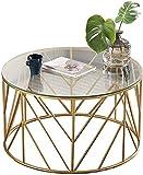 Mesa de centro redonda de cristal templado, marco de metal dorado, color transparente, para sala de estar, balcón, 60 cm x 45 cm, 60 x 45 cm