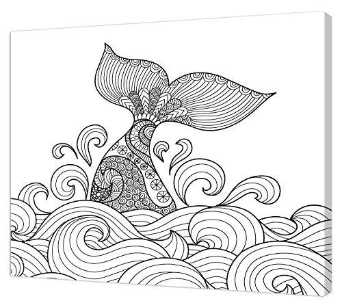 pintcolor 9088 châssis avec toile imprimée à colorier, Wood, blanc/noir, 40 x 30 x 3,5 cm