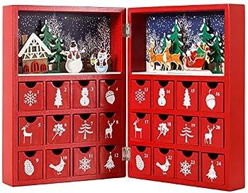 BRUBAKER Reusable Wooden Advent Calendar to Fill - Red Christmas Book with 24 Doors - DIY Christmas Calendar 8.27 x 3.54 x 11.81 inches
