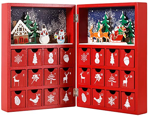BRUBAKER Reusable Wooden Advent Calendar to Fill - Red Christmas Book with 24 Doors - DIY Christmas Calendar 8.27 x 3.54 x 11.81 inches