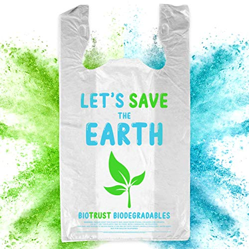 BioTrust T Shirt Grocery Bags - 100% Biodegradable & Eco Friendly – Reusable Supermarket Small Trash Bags - Extra Strong Thank You Plastic Shopping Handles - Recyclable for Dog & Cat Poop (500 Count)