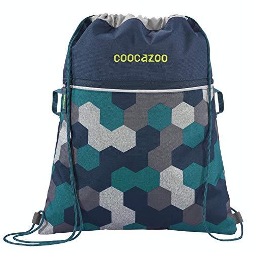 """Coocazoo Sportbeutel RocketPocket """"Blue Geometric"""", blau, Reißverschlussfach und Kordelzug, reflektierende Elemente, Schlaufen zur Befestigung am Schulrucksack, für Jungen, 10 Liter"""
