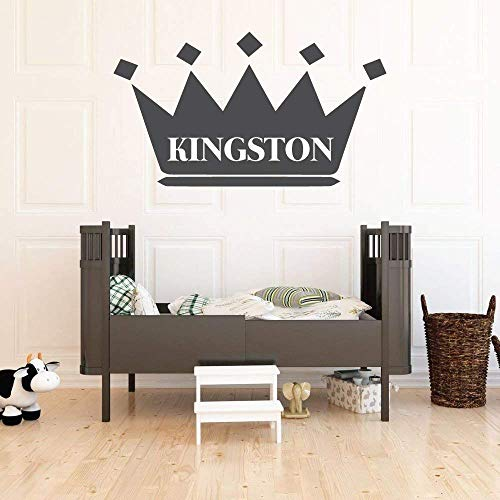 Wall Decal For Kids   Personalized Name King Crown Design   Vinyl Wall Home Decor for Boy's Bedroom, Playroom   Custom Baby Nursery Decoration   Black, White, Gold, Other Colors   Small, Large Sizes