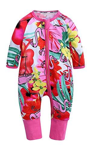 Plus Nao(プラスナオ) カバーオール ロンパース つなぎ 長袖 長ズボン 前開き ジップアップ ベビー服 花柄 リーフ柄 アニマル柄 デザイン豊 73cm R