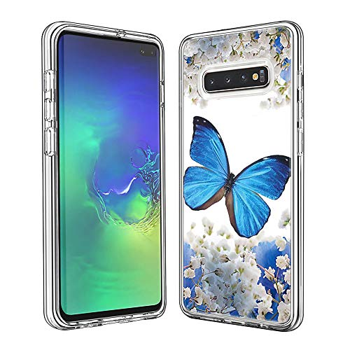 Phone Case for Samsung Galaxy S10+/ S10 Plus Shockproof Hard Plastic Back + TPU Soft Bumper Protective, Cover with Kawaii Cartoon Card Phone Case (Blue Butterfly)