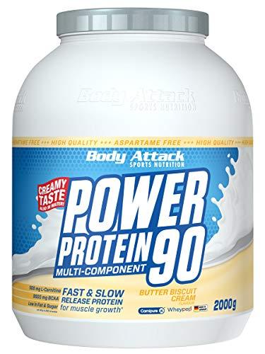 Body Attack Power Protein 90, Butter Biscuit, 2 kg, 5K Eiweißpulver mit Whey-Protein, L-Carnitin und BCAA für Muskelaufbau und Fitness