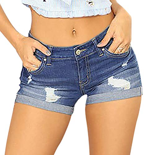OranDesigne Damen Kurze Jeans Hosen Mittlerer Aufstieg Kurze Hose Jeans Shorts mit Quaste Ripped Loch Sommer Hotpants Denim Shorts 06 Tiefes Blau M