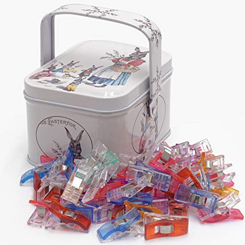 Magik Clips, Multicolored, 100 Pack- Sewing Clips for Quilting and Crafts with Decorative Tin