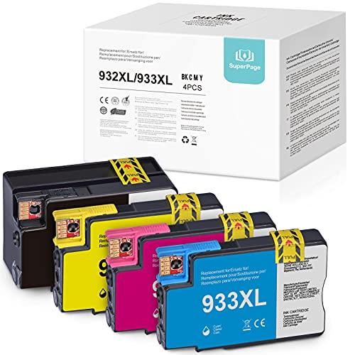 4 Superpage Compatible HP 933XL 932XL Cartucho de Tinta para HP Officejet 6700 6600 7510 7110 7612 6100 7610 7512,1 Negro,1 Cian,1 Magenta,1 Amarillo