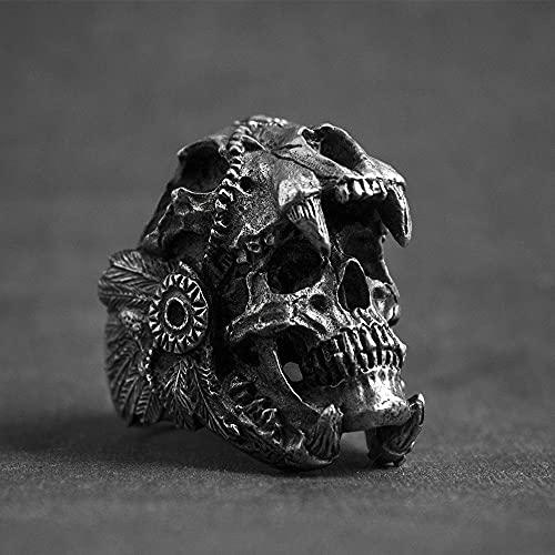 DKANG Bague Homme Viking, Acier Inoxydable, Bague De Crâne De Pirate Gothique, Bague De Boussole D'adsorption De Pirates De Pirates Unique, Anneau De Motards...