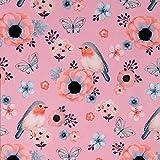 Softshell Vögel und Blumen rosa - Preis gilt für 0,5