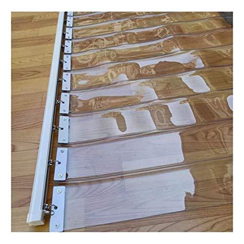 LSXIAO Plegable Pantalla Transparente, Cortina De Tira De Vinilo, 18cm De Ancho Conexión De Sellado Térmico Sin Superposición A Prueba De La Intemperie Hardware Incluido para Porches, Pérgola