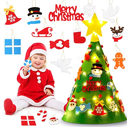 FunPa Felt Christmas Tree, DIY Christmas Tree with 50 LED Lights 20Pcs Ornaments for Kids Xmas Gifts Home Door Wall Decoration