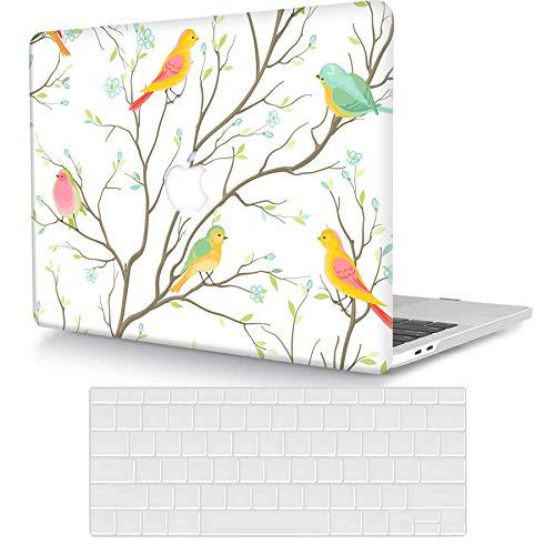 Bandless ACJYX Funda Compatible con MacBook Pro 13' A2338 M1 A2289 A2251 A2159 A1989 A1706 A1708 Versión 2020 2019 2018 2017 2016, Plástico Carcasa Rígida & Piel de Teclado, Pájaro Colorido