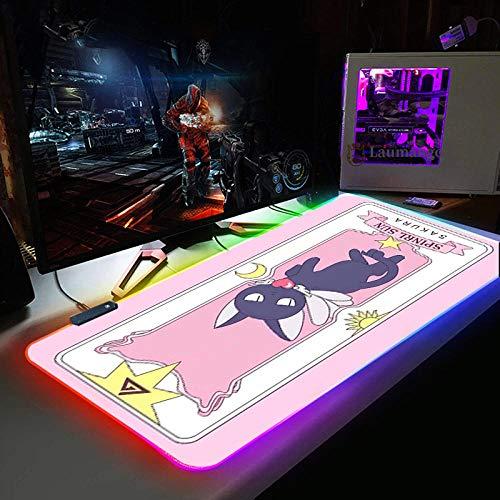 Alfombrilla de ratón RGB para Juegos, Ordenador de Jugador, retroiluminación LED, Teclado de Escritorio Grande, Alfombrilla de ratón Rosa - Anime Sailor Moon Black Cat-600x300 MM