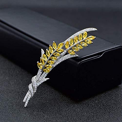 FSJIANGYUE Zirconia cúbica Broche de Trigo Broche de Cobre broches para Mujeres diseño de Invierno Lujo Abrigo de Invierno Accesorios Regalo (Color metálico: Plata) (Color : -, Size : Silver)