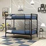 JURMERRY Bunk Bed Frame Twin Over Twin with Slat&Ladder Heavy Duty Metal Bed Frame ,Black