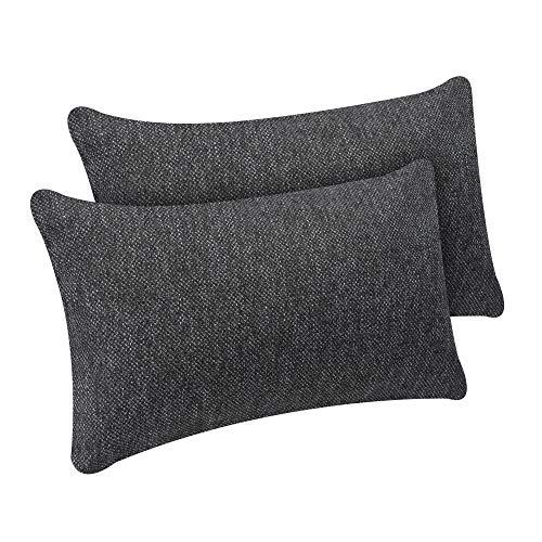 Selfitex 2er Set Kissenbezug, Dekokissen, Kissenhüllen ohne Füllung, Komfort-Polsterstoff mit Reißverschluss, für Sofa Couch Wohnzimmer, Kopfkissenbezug im Doppelpack (2X 30 x 50 cm, Anthrazit)
