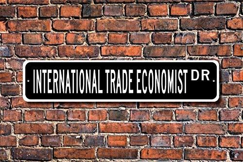 Tamengi Cartel de economista de comercio internacional, regalo de economista internacional, letrero de calle personalizado, cartel de metal de calidad, 4 x 18 (2843, fabricado en Estados Unido