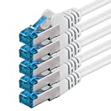 1,5m - Blanco - 5 Piezas - CAT6 Ethernet LAN Cable de Red Set 10 GB/s Cable Patch CAT6 S-FTP Doble blindado PIMF 250MHz halógenos Compatible con CAT5 CAT6a CAT7 CAT8