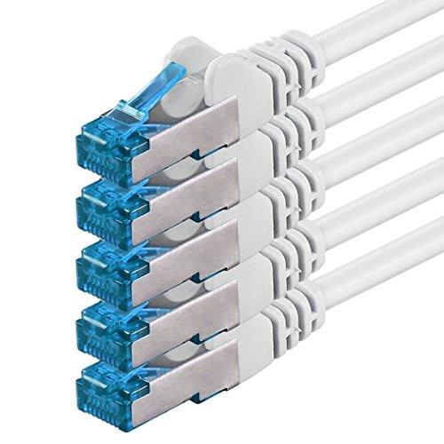 0,5m Cable de Red, Cable Ethernet y LAN SFTP PIMF Cat6a - transmite hasta 10 Gigabit por Segundo y es Adecuado para switches, routers, módems con Entrada RJ45, Blanco - 5 Piezas
