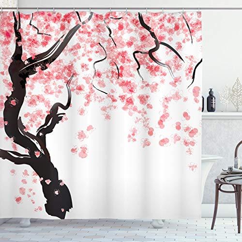 ABAKUHAUS japanisch Duschvorhang, Kirschblütenbaum, mit 12 Ringe Set Wasserdicht Stielvoll Modern Farbfest & Schimmel Resistent, 175x240 cm, Schwarz Rosa