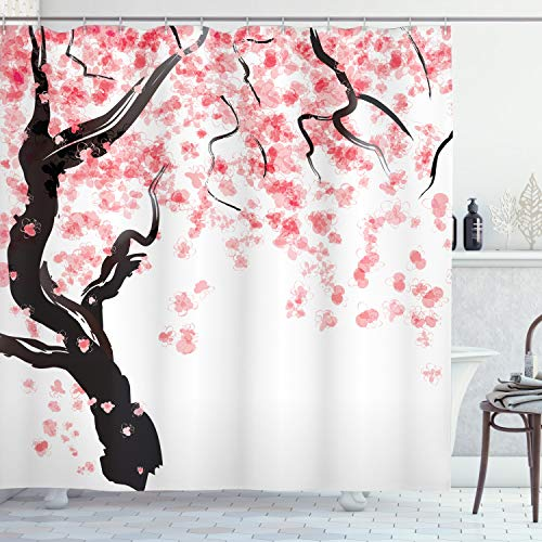 ABAKUHAUS Floreale Tenda da Doccia, Fiori Dell'Albero Giapponese di Ciliegia Effetto Pittura Ad Acquarello Stilizzato, Stampa Digitale su Tessuto, 175 x 200 cm, Nero
