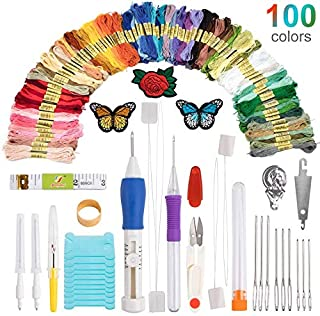Hileyu Punch Needle Embroidery Kit with Butterfly Rose Patch, Seam Ripper, Threader, 100 Colors Threads, DIY Craft Knitting Sewing Cross Stitch Tool Perfect for Beginner and Adults (136 Pieces)