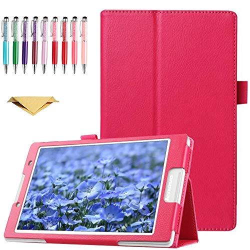 QYiD Case for Lenovo Yoga Tab 3 8 Case, Slim PU Leather Folio 2-Folding Stand Cover with Auto Sleep/Wake Feature for 2015 Lenovo Yoga Tab3 8-Inch Tablet YT3-850M YT3-850F YT3-850L, Rose