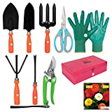Material:Other, Color:Colourful & Designing Package Contents:1. Small Trowel, 2. Big Trowel, 3. Cultivator, 4. Fork, 5. Iweeder, 6. Metal Box, 7. Orange/Green Pruner, 8. Multipurpose Kitchen & Garden Scissors, 9. One Pair Hand Gloves Full set of gard...