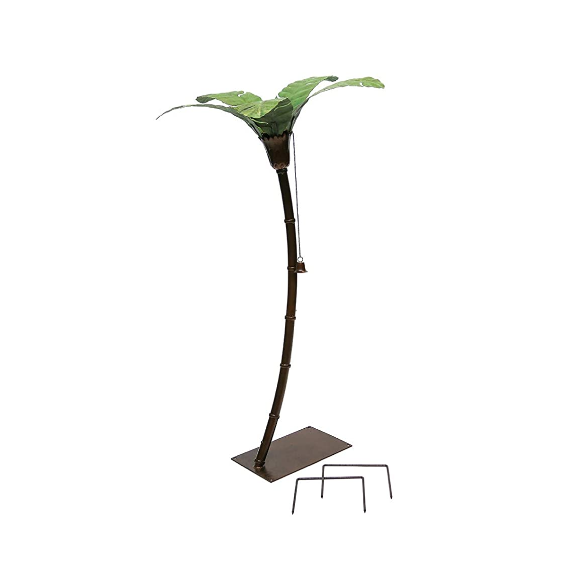 "Desert Steel Asher Palm Tree Garden Torch (58""H) - Metal Lawn Art Torch – Stands 4.8 Ft. Tall"