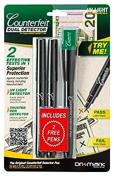 Dri Mark Dual Test - The Original Smart Money Pen with UV LED Cap Counterfeit Detector System - Plus 2 Free Detector Pens - Money Loss Prevention - Fraud Protection
