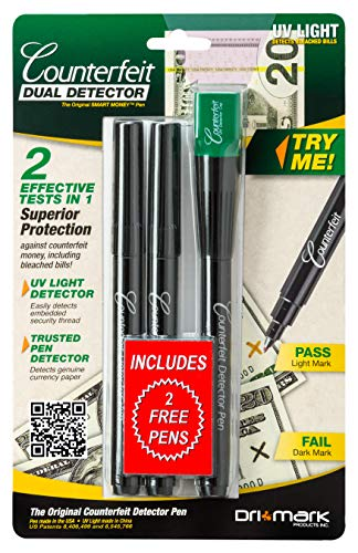 Dri Mark Dual Test - The Original Smart Money Pen with UV LED Cap Counterfeit Detector System - Plus 2 Free Detector Pens - Money Loss Prevention - Fraud Protection