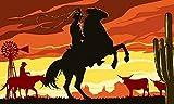U24 Fahne Flagge Cowboy auf Pferd 90 x 150 cm