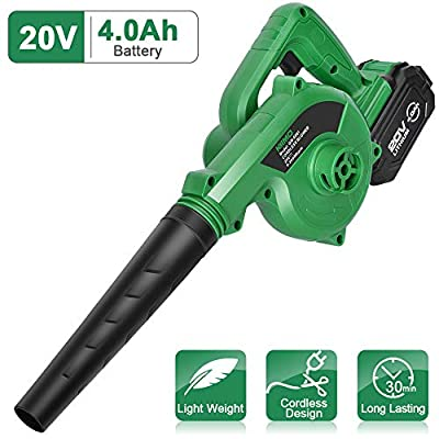 K I M O. Cordless Leaf Blower – 20V 4.0 Ah Lithium Battery Powered Lightweight, Compact 2 in 1 Sweeper & Vacuum for Clearing Dust, Leaf & Snow, Car Vacuum, Patio/Deck/Garden Cleaning, Garage Dusting