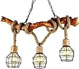 Zenghh Loft Lampadari Tre capo corda di canapa a sospensione Lampada da soffitto American Country fai da te Lighting Design Retro creatività creativo Studio Cafe rustica in legno di massa Illuminazion