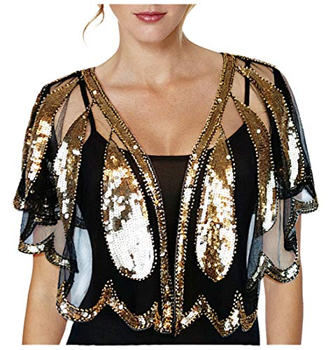 L\'VOW Damen Retro Gatsby 20er jahre Umschlagtücher Stola Glitzer Pailletten Hochzeit Schal Für Abendkleid Festival Kostüm (Gold und Schwarz)