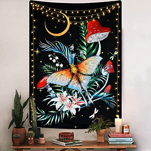 Flower and Butterfly Tapestry Floral Vertical Tapestry Wall Hanging Moon and...
